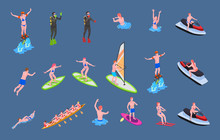 Water Sports Isometric Icon Set