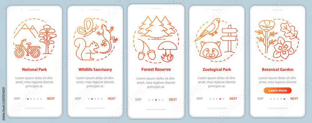Fototapeta Protected areas for biodiversity red onboarding mobile app page screen vector template. Botanical garden. Walkthrough website steps with linear illustrations. UX, UI, GUI smartphone interface concept