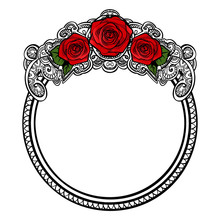 Roses Frame Round Border With ...
