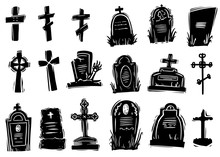 Scary Gravestones Hand Drawn S...