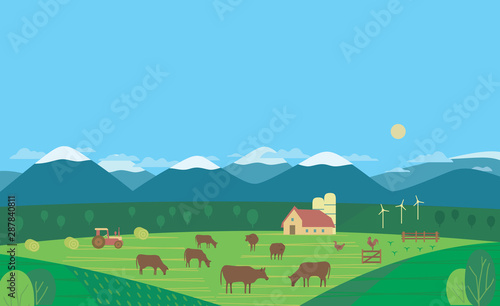 Hand drawn rural nature and cow farm landscape flat vector