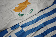 Waving Colorful Flag Of Greece...