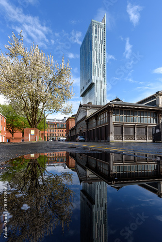 Fotografering Beetham Tower View Over Water In Manchester City, UK