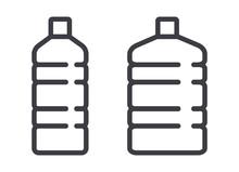 Plastic Water Bottle Vector Line Art Icon