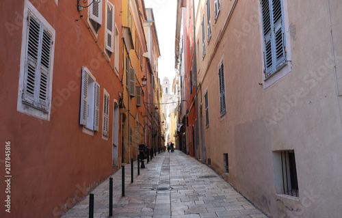 Poster Stockholm Narrow pedestrian street in the city of Bastia, Corsica, France