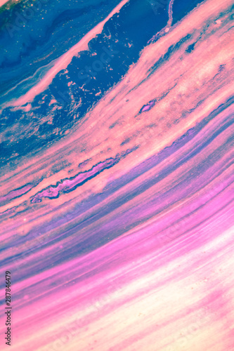 Abstract created using the technique of liquid acrylic. Macro photography of the smallest details of a picture. The picture shows how overflows of shades and colors of paint resemble space motifs. - 287846479
