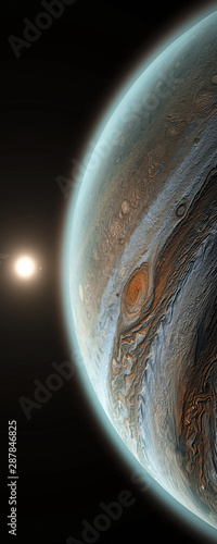 Obraz Jupiter planet with rising sun in space, close up shot. Sun is behind of universe's, solar system's giant, beautiful planet Jupiter with shadow 3D illustration vertical banner. - fototapety do salonu