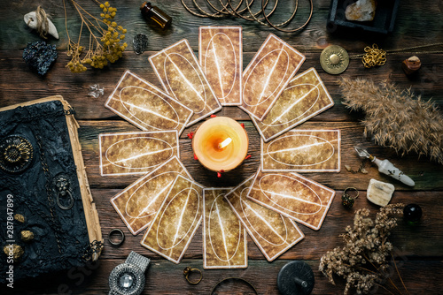 Obraz na płótnie Tarot cards deck on a wooden table.