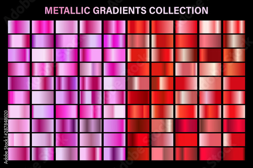 Fotomural  Pink and red ruby glossy gradient, metal foil texture