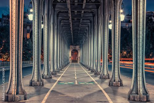 Bir-Hakeim bridge at sunset in Paris