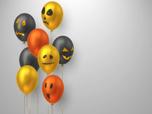 Halloween Air Balloons In Realistic Style With Monster Faces. Decorative Elements For Holiday Design, Party. Vector Illustration.