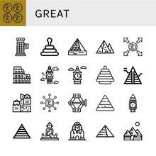 Set Of Great Icons Such As Pound, Phone Booth, Pyramid, Pyramids, Coliseum, Big Ben, Great Wall Of China, Jack, Clock Tower, Great Buddha Of Thailand, Sphinx Giza ,