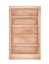 Watercolour Illustration Of Traditional Empty Wooden Bookcase. One Single Object, Front View, Light Brown Tone. Handdrawn Water Color Sketchy Painting, Cutout Clip Art Element For Design Decoration.