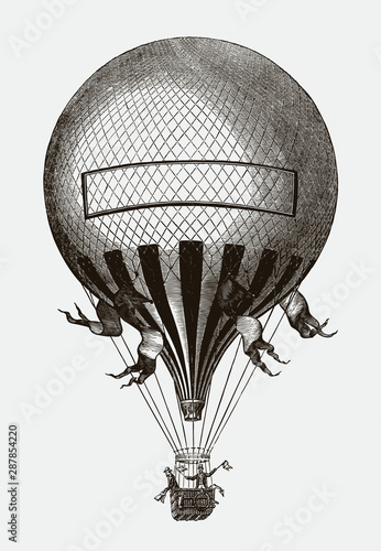 Two men standing in the basket of a Historical balloon. Illustration after a lithograph from the 19th century. Editable in layers