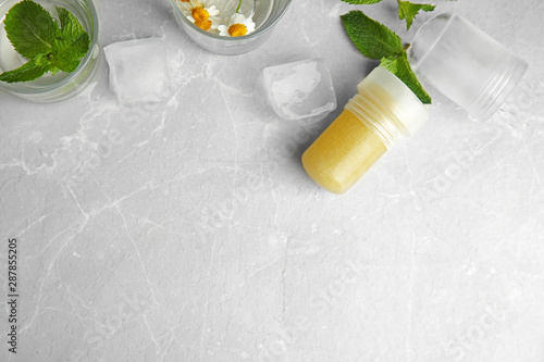 Flat lay composition with natural crystal alum deodorant and space for text on l Canvas Print