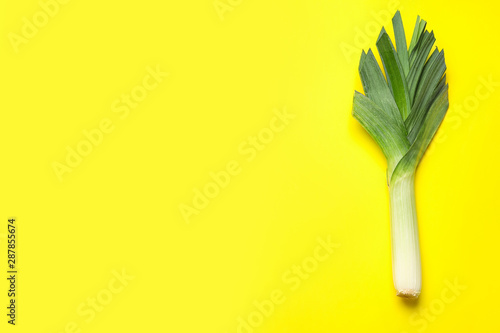 Fresh raw leek on color background, top view with space for text Wallpaper Mural