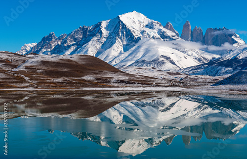 Reflection of the Torres del Paine granite peaks in winter inside Torres del Paine National Park, Chile.