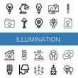 Set of illumination icons such as Light bulb, Idea, Desk lamp, Lamp, Lightbulb, Wall lamp, Candle, Chandelier , illumination