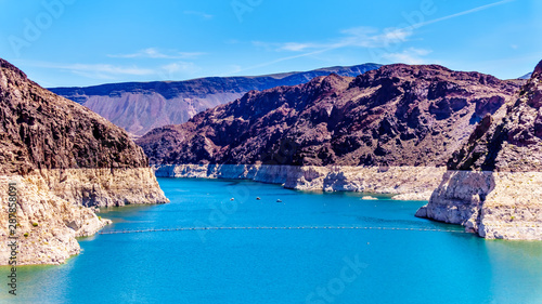 Fotografie, Obraz  Low water level in Lake Mead, formed by the Colorado River and the construction