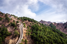 Great Wall Of China, Mutianyu Section Near Beijing, Panoramic View, Autumn