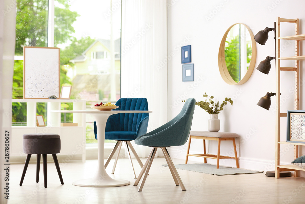 Fototapety, obrazy: Modern dining room interior with table and chairs