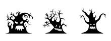 Halloween Trees. Black And White Silhouette Set. Vector Illustration.