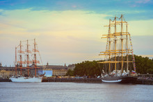 Two Old Wooden Sailing Ship In...
