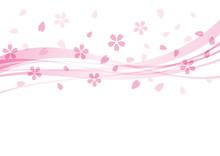 桜 花 春 ウェーブ 背景 ピンク