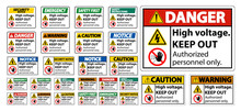 High Voltage Keep Out Sign Isolate On White Background,Vector Illustration