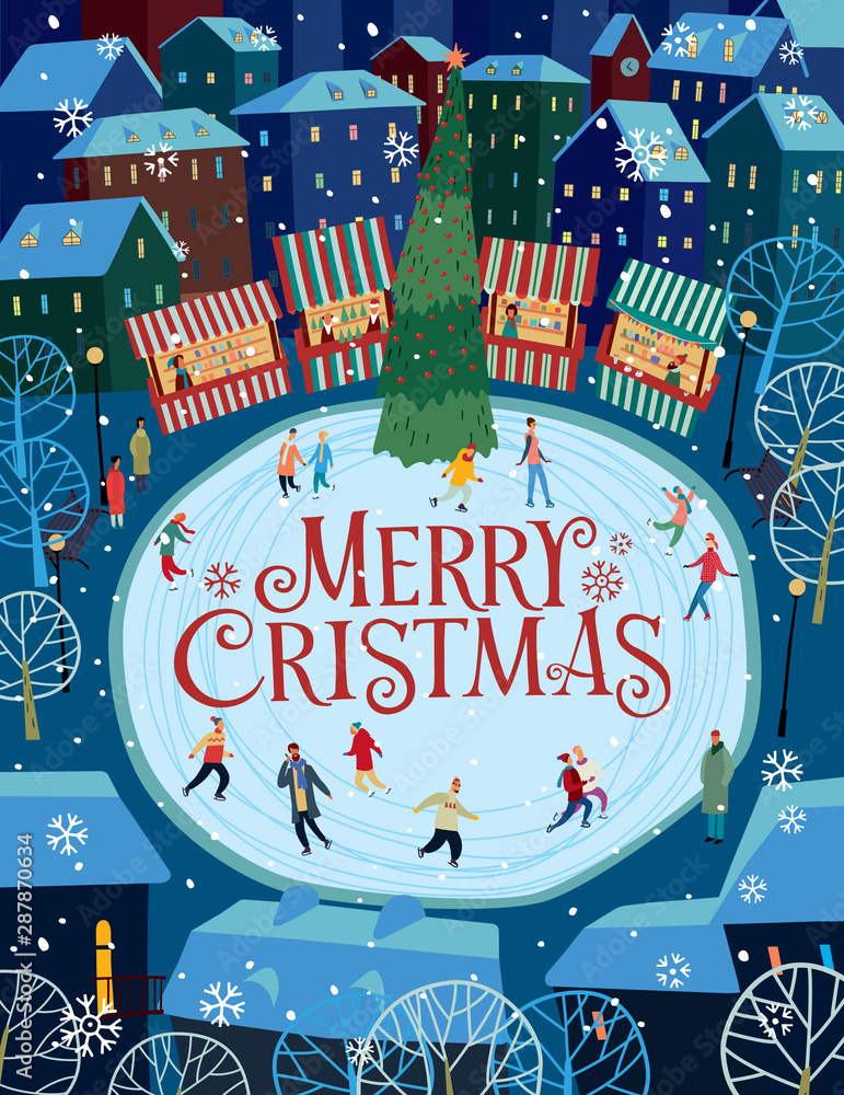 Fototapety, obrazy: Greeting card Merry Christmas. Cat at the Christmas market and lettering. Vector full color graphics