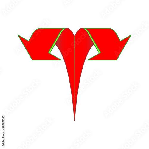 Bifurcation Of Up Arrow vector red icon Tablou Canvas