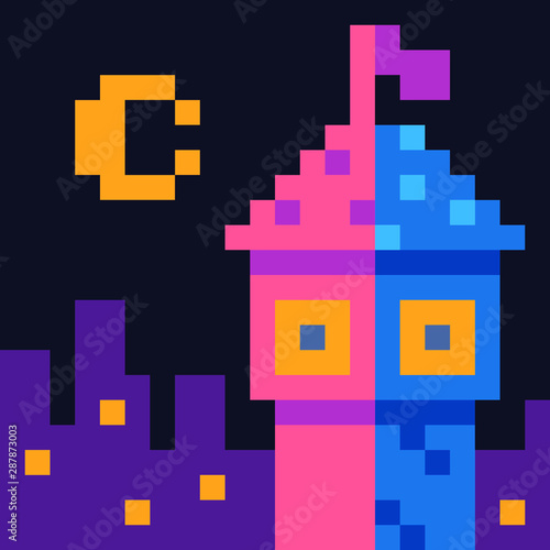 Tower With Flag On Cityscape And Moon Background Fairy Tale