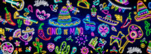 Neon Mexican Icons. Icon From ...