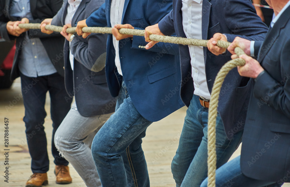 Fototapeta Men with business clothing and formal jackets pulling together on a thick rope, concept photo of the expression