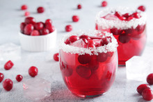 Glasses With Red Cranberry Coc...