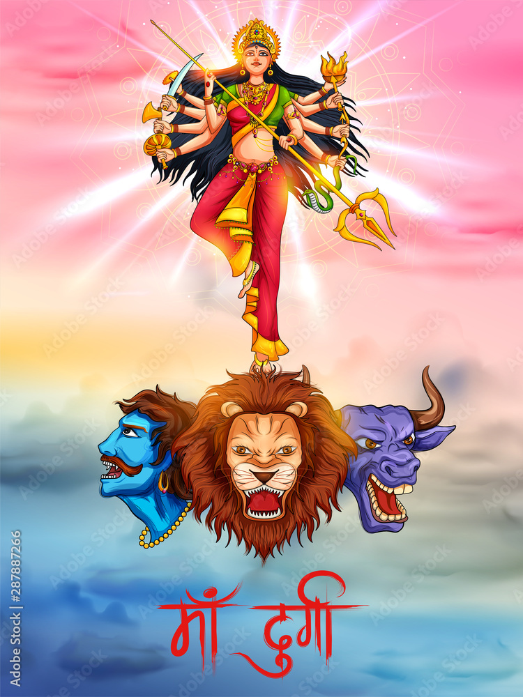 Fototapety, obrazy: illustration of Goddess in Happy Durga Puja Subh Navratri Indian religious header banner background with text in Hindi meaning Mother Durga