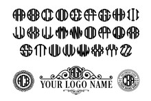 Circle Font. Round Monogram With 3 Letters