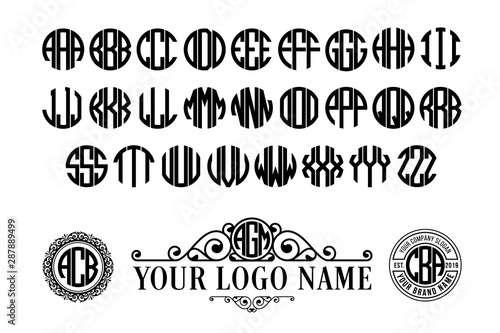 Circle font. Round monogram with 3 letters Wallpaper Mural