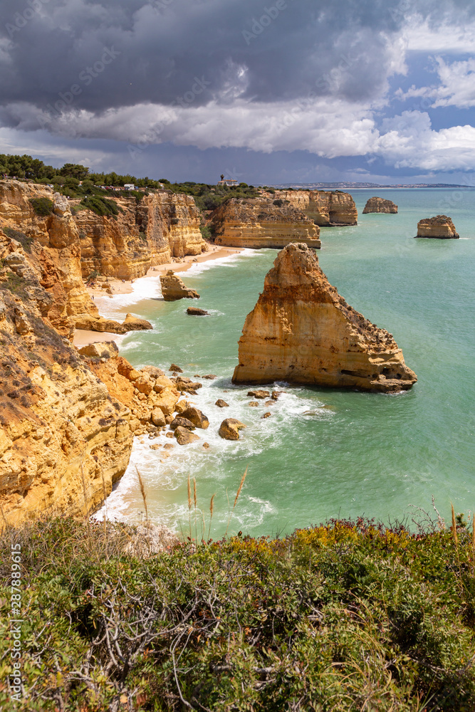 Fototapeta Coastal landscape the southern coast of the Algarve, Portugal.