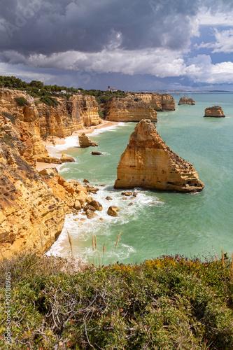 Coastal landscape the southern coast of the Algarve, Portugal. - 287889615
