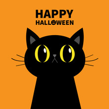 Happy Halloween. Black Cat Silhouette. Big Yellow Eyes. Moustaches. Cute Cartoon Character. Baby Pet Animal Collection. Flat Design. Orange Background.