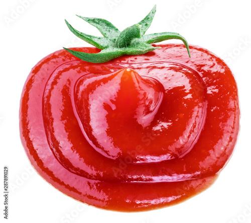 Fototapeta Tasty tomato ketchup in the shape of tomato fruit isolated on white background. obraz
