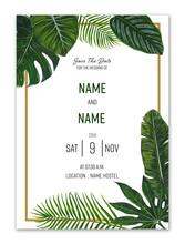 Tropical Leaf Wedding Invitation Card, Save The Date, Invite Template.