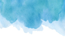 Abstract Watercolor Blue Textured Background On A White Isolated Background