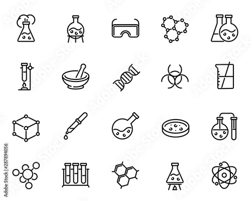 Fotografie, Tablou Chemical lab research vector linear icons set