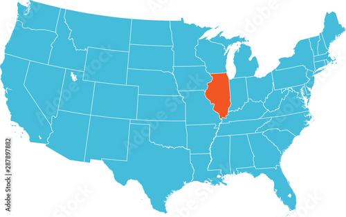 Fotografia, Obraz map of Illinois