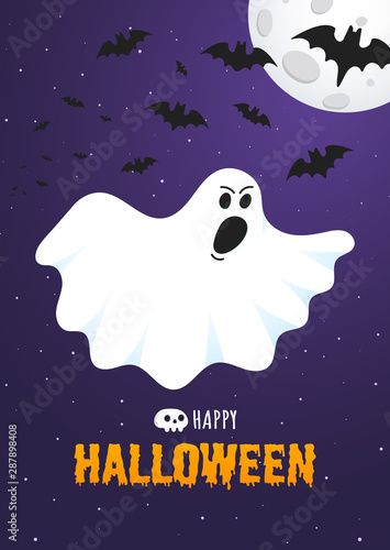 Poster Halloween Happy Halloween text postcard banner with ghost scary face, night sky, moon, flying bats and text happy halloween isolated on dark background flat style design.