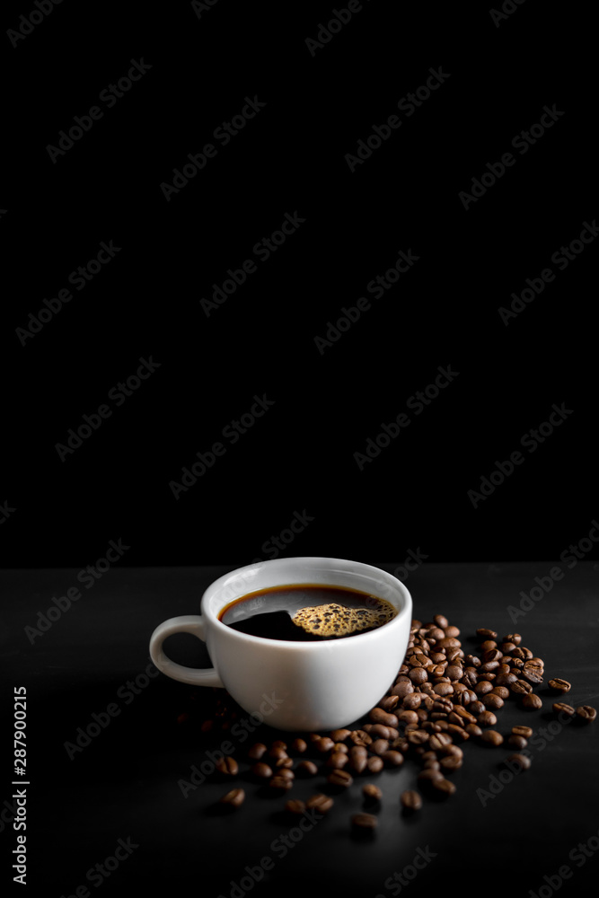 Fototapeta Coffee, black coffee, drip coffee, making coffee in low-light black
