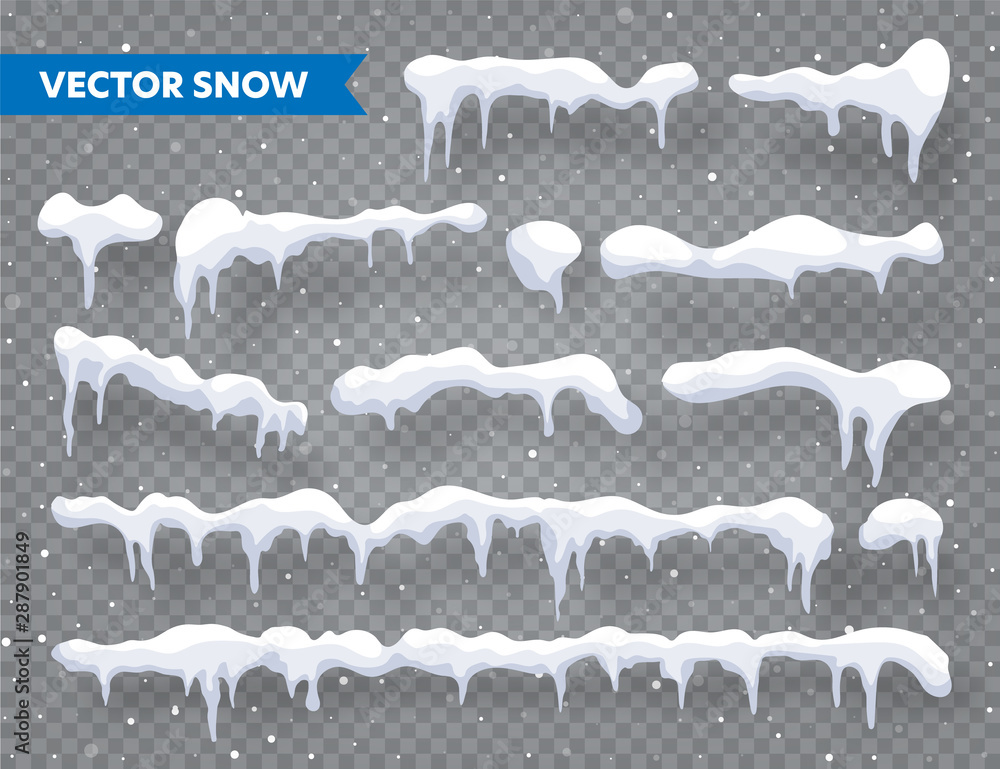 Fototapety, obrazy: Snow, ice cap with shadow set. Snowfall with snowflakes. Winter season. Isolated on transparent background Christmas card design element.