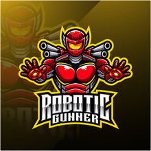Robotic Gunner Mascot Logo Des...
